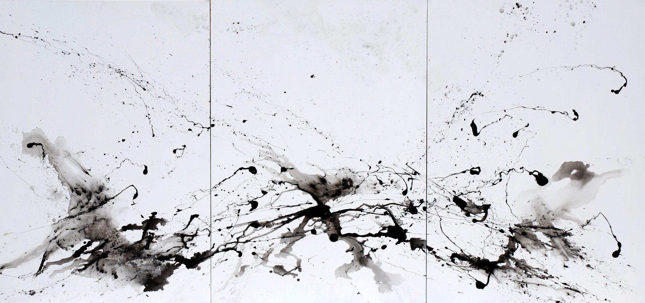 neiges noires triptyque huile sur toile 162 x 300 cm