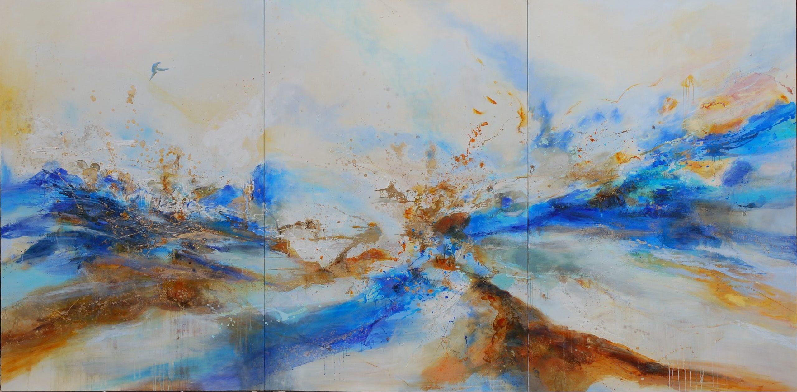 Magnificat  triptyque huile sur toile 390 x 195 cm
