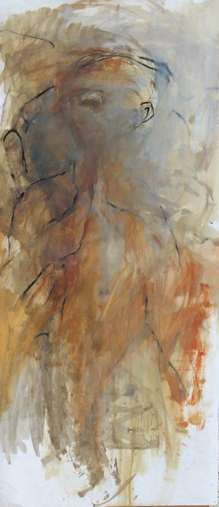 Géant  II huile sur papier marouflé sur toile 150 x 65  cm