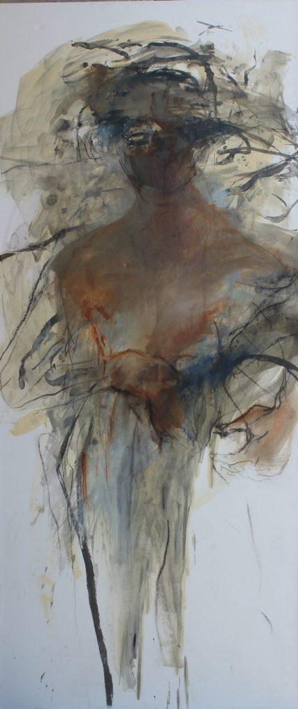 Géant III  huile sur papier marouflé sur toile III 150x65cm