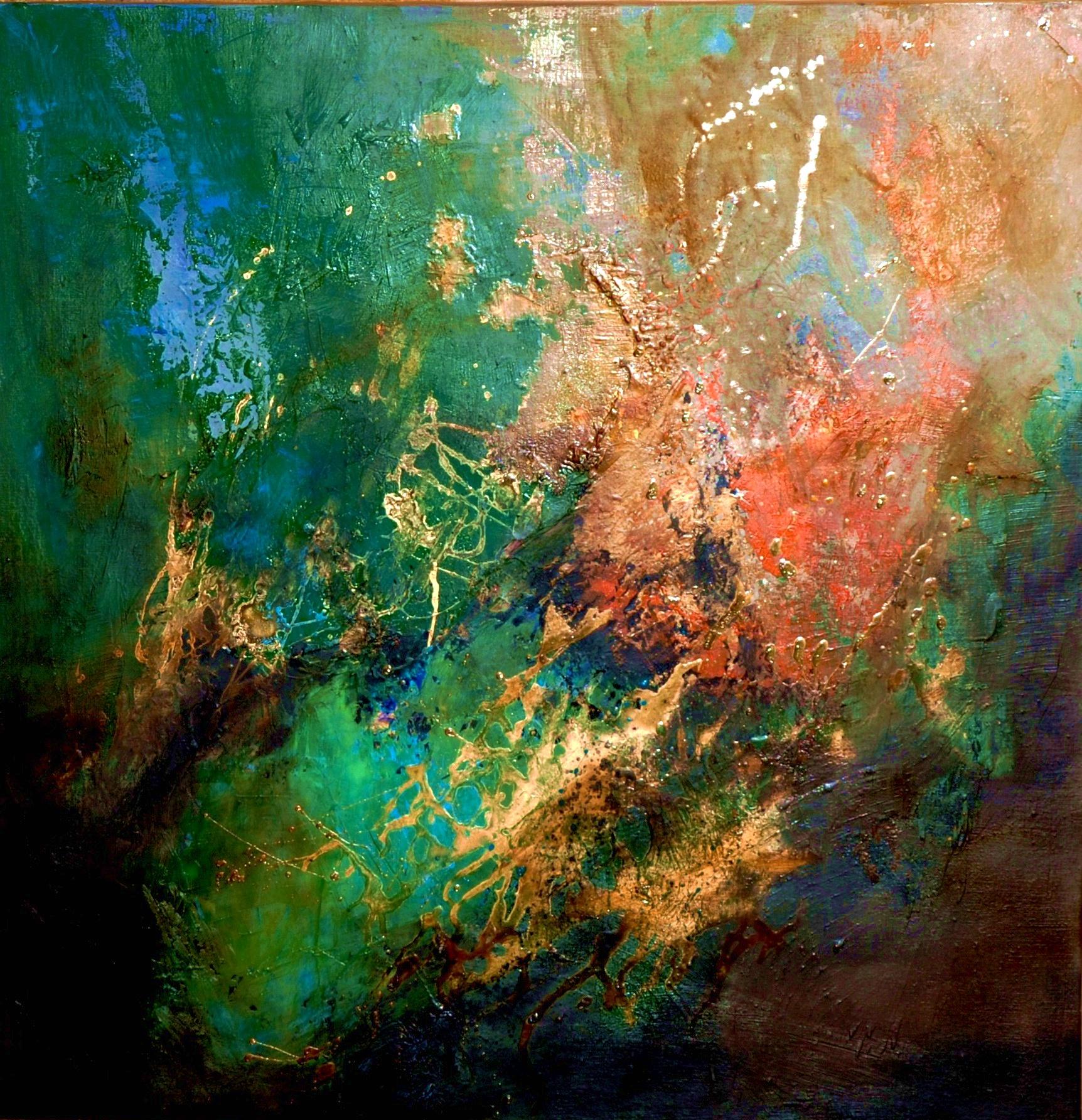 Clairière huile sur toile 80x80 cm collection particulière