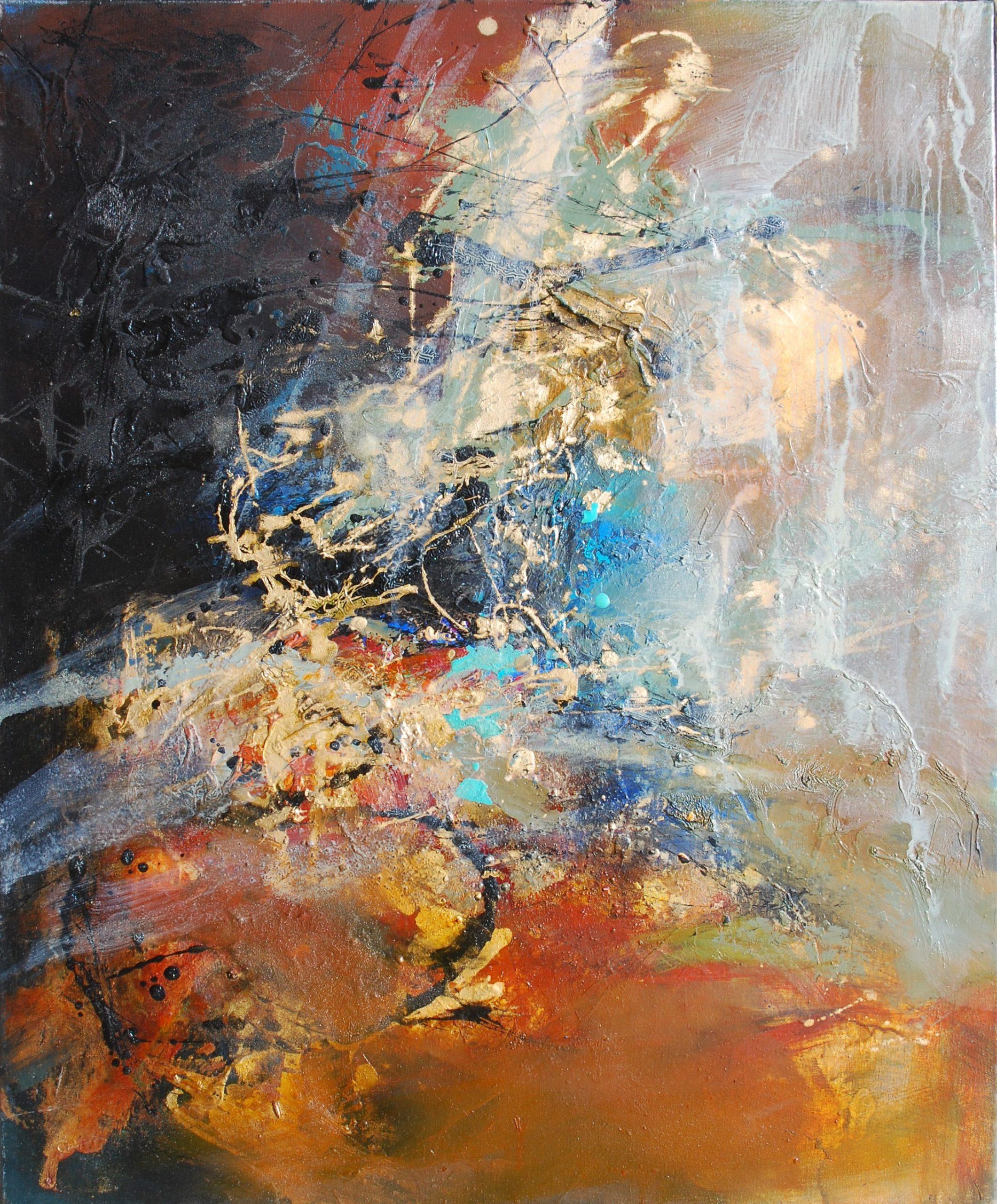 la chevauchée de l'ombre  huile sur toile 73 x 60 cm