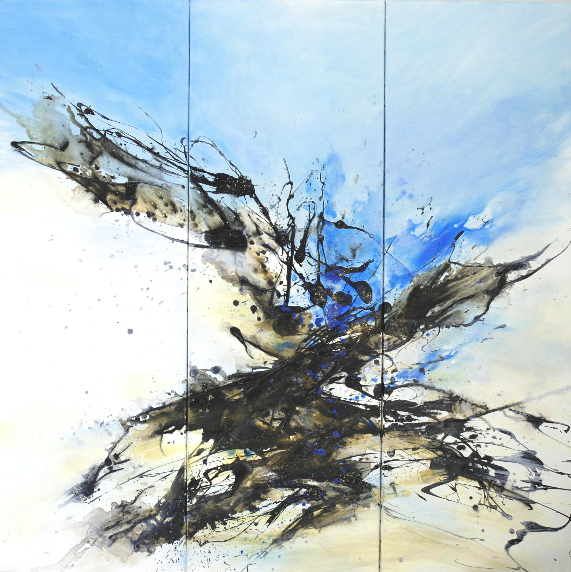 Les racines du ciel triptyque huile sur toile 150 x 150 cm collection privée