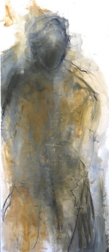 Géant  I  huile sur papier marouflé sur toile 150 x 65  cm