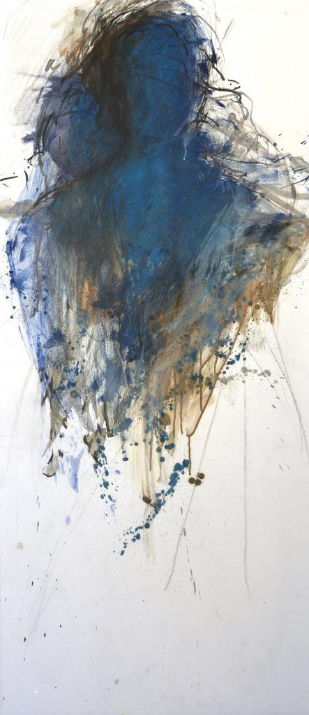 Les géants VIII huile sur papier marouflé sur toile 150x65cm