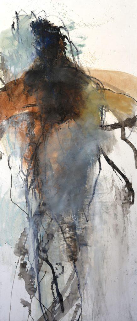 Géant huile sur papier marouflé sur toile VII 150x65cm